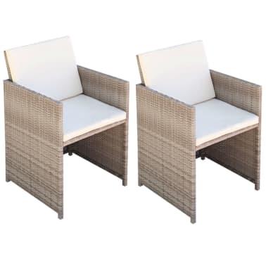 vidaXL dārza krēsli, 2 gb., matrači un spilveni, PE rotangpalma, bēši[1/5]
