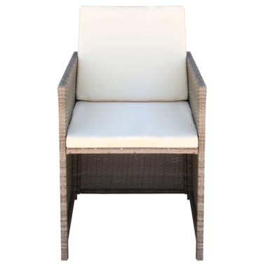 vidaXL dārza krēsli, 2 gb., matrači un spilveni, PE rotangpalma, bēši[3/5]