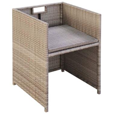 vidaXL dārza krēsli, 2 gb., matrači un spilveni, PE rotangpalma, bēši[4/5]