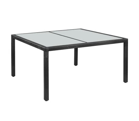 "vidaXL Outdoor Dining Table Poly Rattan 59""x35.4""x29.5"" Black[1/4]"