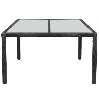 "vidaXL Outdoor Dining Table Poly Rattan 59""x35.4""x29.5"" Black[2/4]"