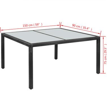 "vidaXL Outdoor Dining Table Poly Rattan 59""x35.4""x29.5"" Black[4/4]"