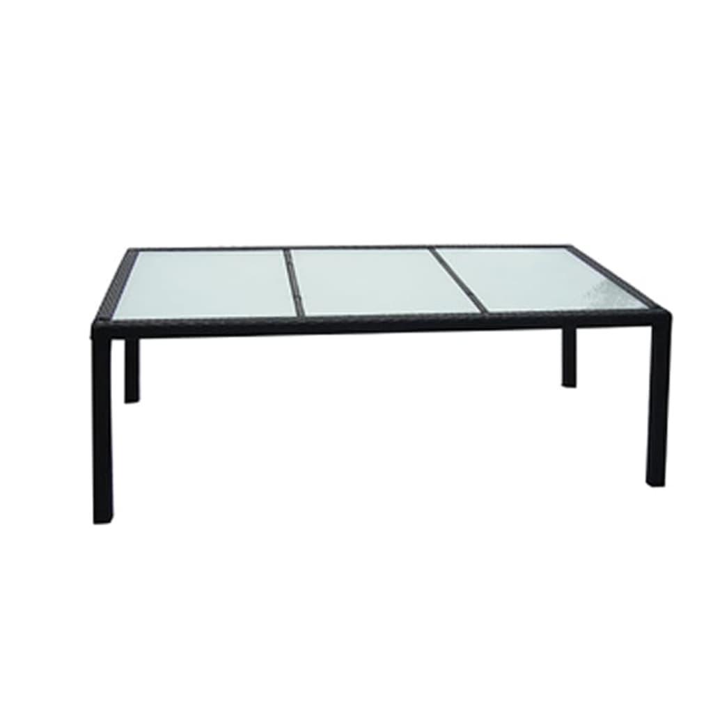 vidaXL Stół ogrodowy, czarny, 190x90x75 cm, rattan PE