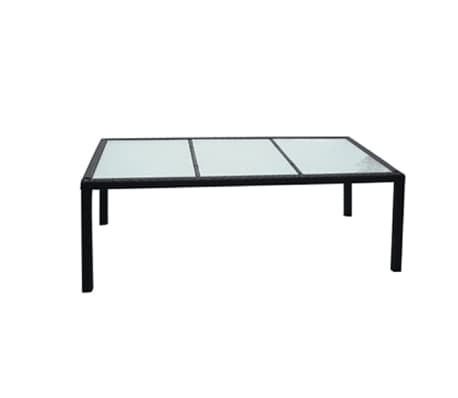 "vidaXL Outdoor Dining Table Poly Rattan 74.8""x35.4""x29.5"" Black[1/2]"