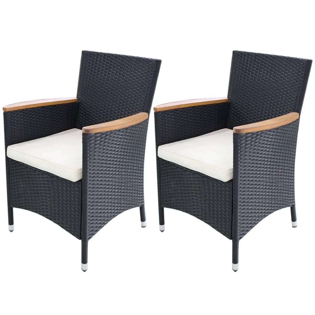 vidaXL Zahradní židle 2 ks černý polyratan 59x60x88 cm
