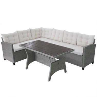 Vidaxl set de sof de esquina para jard n 12 piezas poli for Sofa exterior esquina