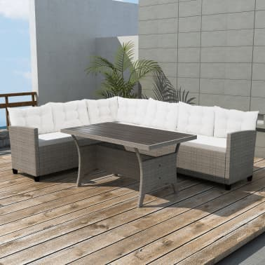 Vidaxl Garden Corner Sofa Set 12 Pieces Poly Rattan Gray Vidaxlcom
