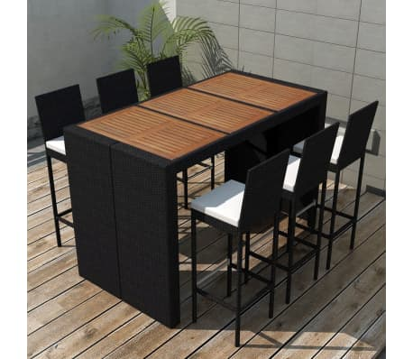 vidaxl garten essgruppe 13 tlg poly rattan akazienholz tischplatte im vidaxl trendshop. Black Bedroom Furniture Sets. Home Design Ideas