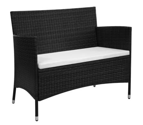 vidaXL Záhradná lavička 106 cm, polyratan, čierna