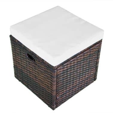 vidaXL 4-delige Loungeset met kussens poly rattan bruin[10/11]