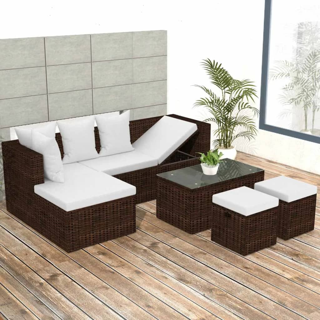vidaXL Garden Lounge Set 12 Pieces Poly Rattan Brown