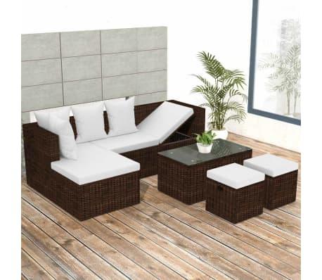 VidaXL Garden Lounge Set 12 Pieces Poly Rattan Brown