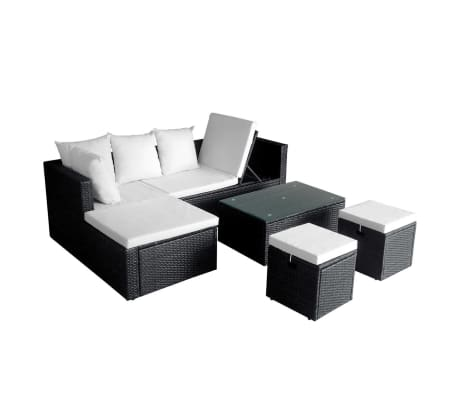 vidaXL 4 Piece Garden Lounge Set with Cushions Poly Rattan Black[2/11]