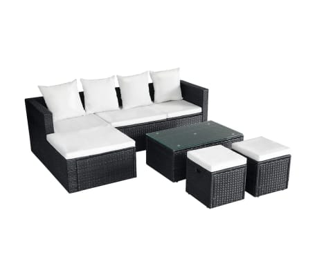 vidaXL 4 Piece Garden Lounge Set with Cushions Poly Rattan Black[3/11]