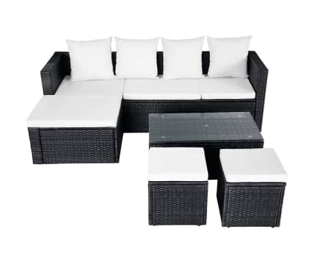 vidaXL 4 Piece Garden Lounge Set with Cushions Poly Rattan Black[4/11]