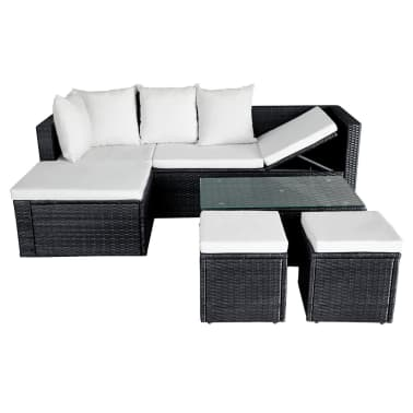 vidaXL 4 Piece Garden Lounge Set with Cushions Poly Rattan Black[5/11]