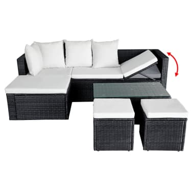 vidaXL 4 Piece Garden Lounge Set with Cushions Poly Rattan Black[6/11]