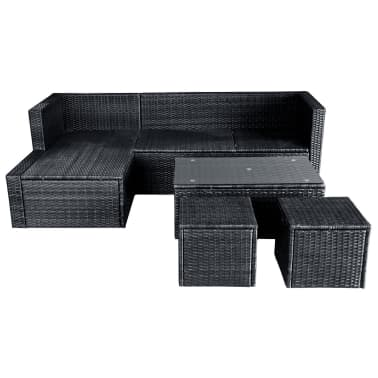 vidaXL 4 Piece Garden Lounge Set with Cushions Poly Rattan Black[7/11]