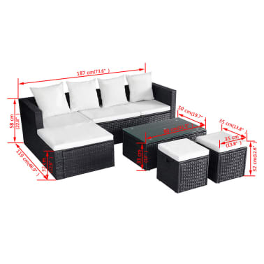 vidaXL 4 Piece Garden Lounge Set with Cushions Poly Rattan Black[11/11]