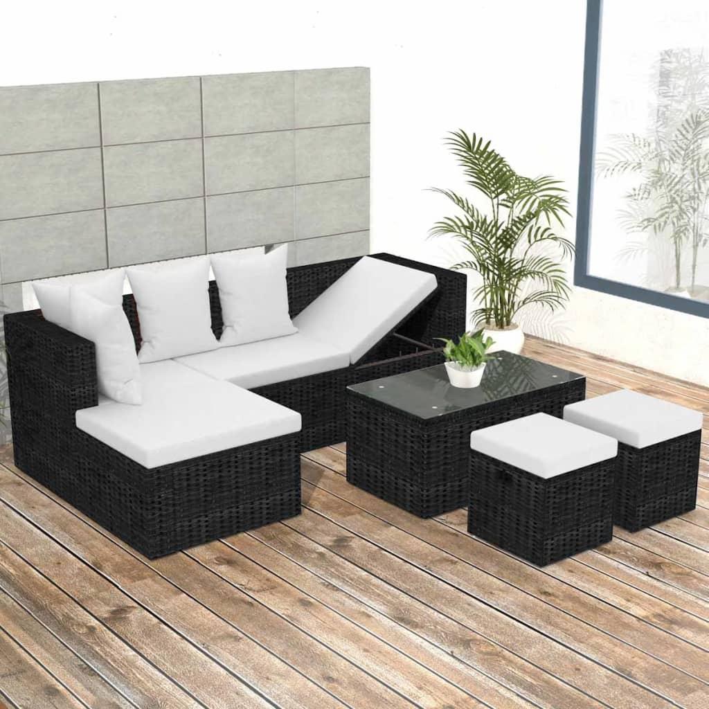 vidaXL 12dílná zahradní polyratanová sedací souprava, černá