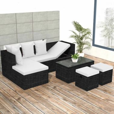 vidaXL 4 Piece Garden Lounge Set with Cushions Poly Rattan Black[1/11]