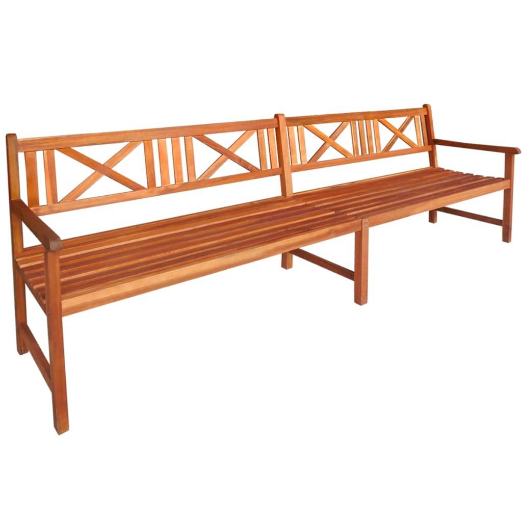 vidaXL Bancă de grădină, lemn masiv de acacia, 240 x 56 x 90 cm, maro vidaxl.ro