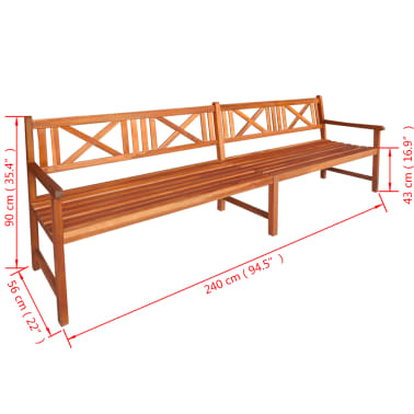 "vidaXL Garden Bench Solid Acacia Wood 94.5""x22""x35.4"" Brown[4/4]"