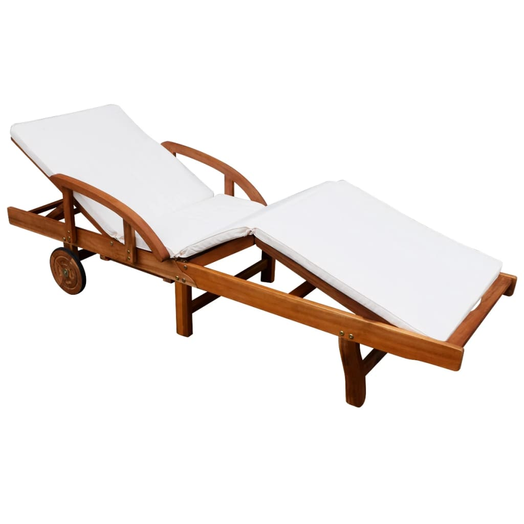 vidaXL Șezlong de plajă cu saltea, lemn masiv de acacia poza vidaxl.ro