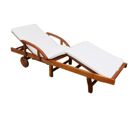 vidaXL Șezlong de plajă cu saltea, lemn masiv de acacia