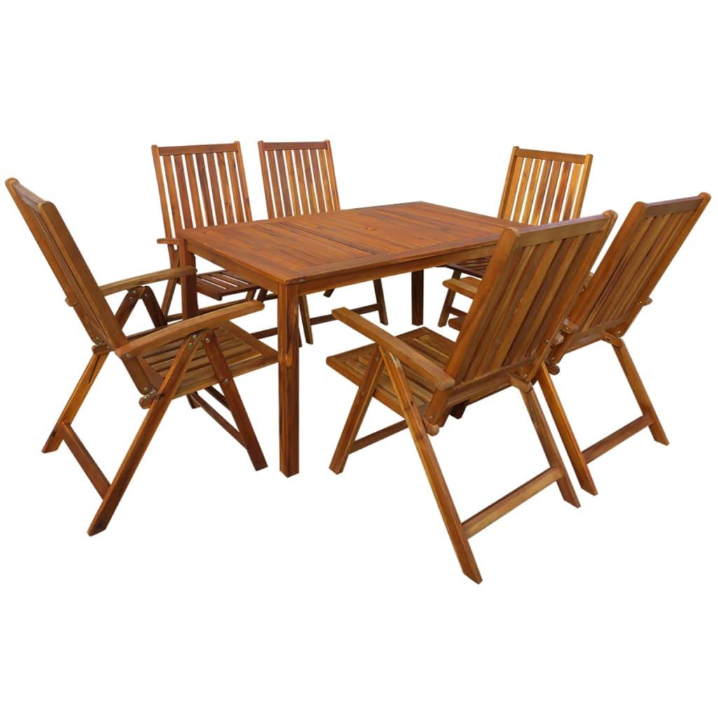 vidaXL Zahradní nábytek jídelní set, 7 kusů, masivní akácie