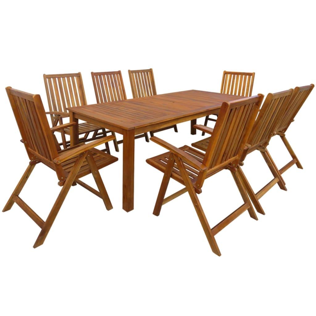vidaxl jeu de salle manger d 39 ext rieur 9 pcs bois d. Black Bedroom Furniture Sets. Home Design Ideas