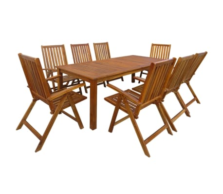 vidaXL Jeu de salle à manger d'extérieur 9 pcs Bois d'acacia solide