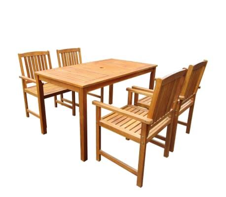 Tavoli E Sedie In Legno Da Esterno.Vidaxl Tavolo E Sedie Da Giardino 5 Pz Legno Acacia Marrone