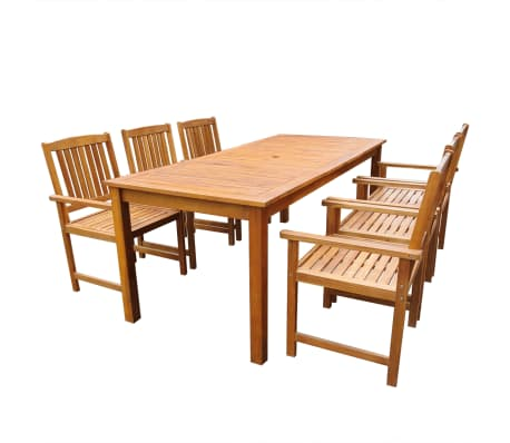 vidaXL Set mobilier de exterior, 7 piese, lemn masiv de acacia