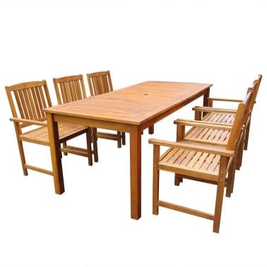 vidaXL 7 Piece Outdoor Dining Set Solid Acacia Wood[1/8]