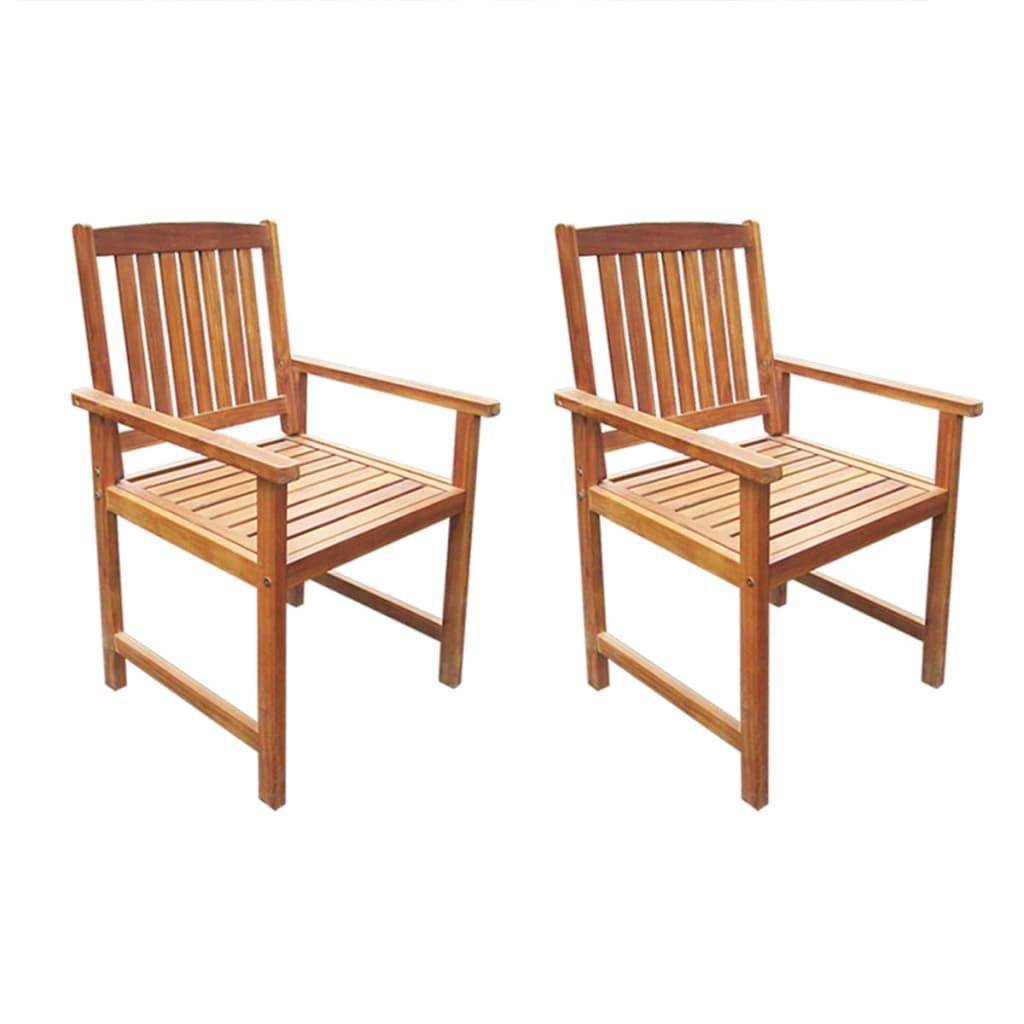 vidaXL Καρέκλες Κήπου 2 τεμ. Καφέ από Μασίφ Ξύλο Ακακίας