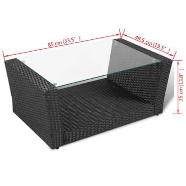 vidaXL 4-daļīgs dārza atpūtas mēbeļu komplekts ar matračiem, PE, melns[10/10]