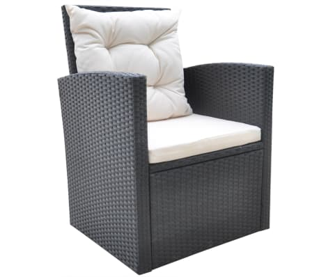 vidaxl garten essgruppe 18 tlg poly rattan schwarz. Black Bedroom Furniture Sets. Home Design Ideas