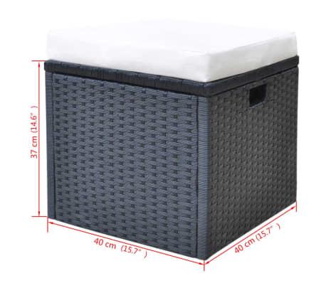 vidaXL 6-daļīgs dārza mēbeļu komplekts ar matračiem, PE pinums, melns[11/11]