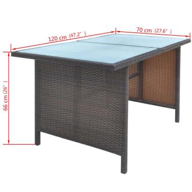 vidaXL 6-daļīgs dārza mēbeļu komplekts ar matračiem, PE pinums, melns[9/11]
