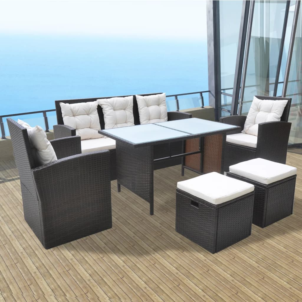 vidaXL Set mobilier de exterior cu perne, 6 piese, maro, poliratan poza 2021 vidaXL