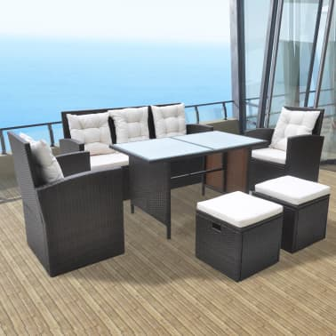 vidaXL Conjunto de muebles de jardín 18 piezas poli ratán marrón ...