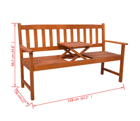 vidaXL Garden Bench with Pop-up Table Acacia Wood[5/5]