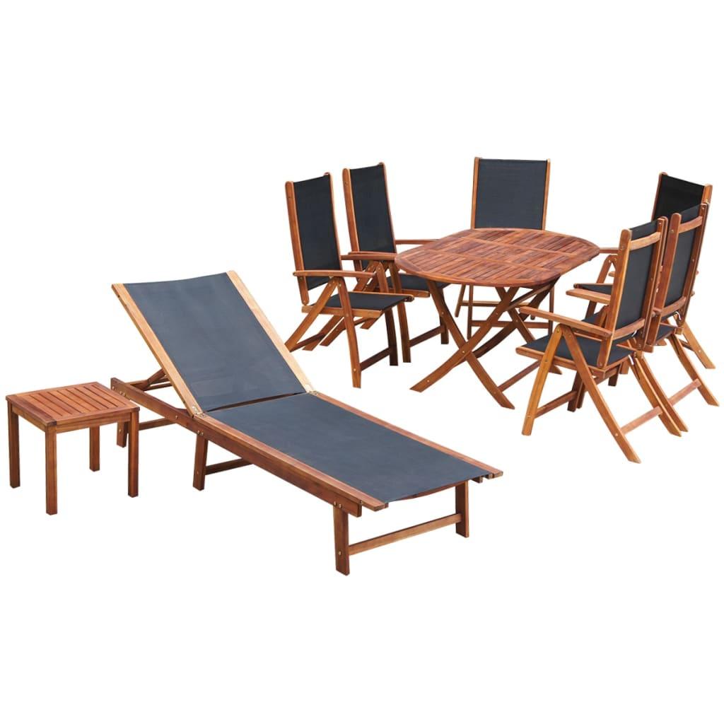 vidaXL Zahradní nábytek jídelní set, 9 kusů, akácie + textilen