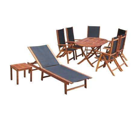 vidaXL 9-cz. zestaw mebli ogrodowych, poduszki, lite drewno akacjowe