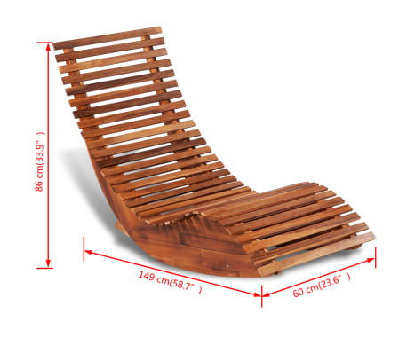 vidaXL Rocking Sun Lounger Acacia Wood[4/4]
