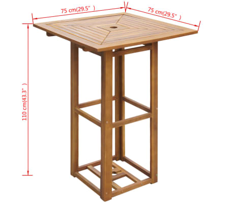 vidaXL Outdoor Bar Table Acacia Wood[4/4]