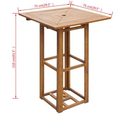 "vidaXL Bistro Table 29.5""x29.5""x43.3"" Solid Acacia Wood[4/4]"
