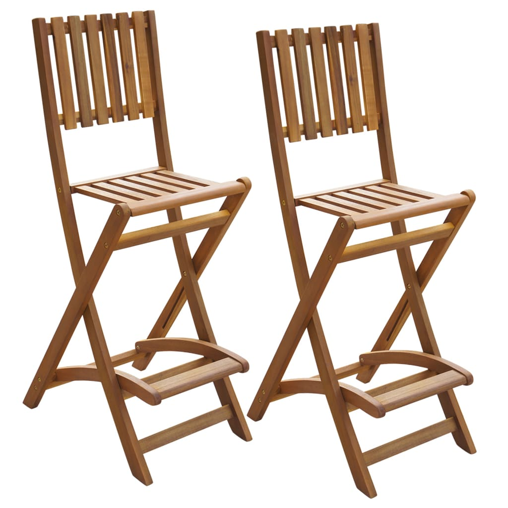 vidaXL Outdoor Folding Bar Chairs 2 pcs Acacia Wood