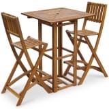 vidaXL Set mesa y sillas bistró de jardín 3 pzas madera maciza acacia